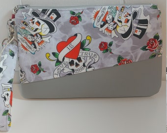 Skulls Hearts and Roses Wristlet made from Ed Hardy licensed fabric and  Gray Faux Leather - Gray Vegan Leather Wristlet - Valentines Gift 3701b7efe2