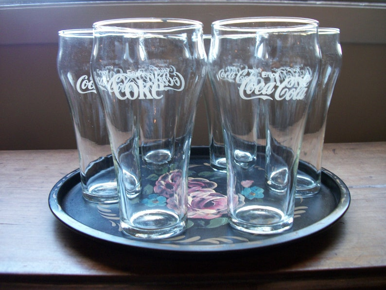 """Vintage Embossed Coca-Cola Glass Coke Classic Teal Blue 6/"""""""
