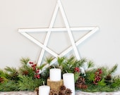 Large Wooden Star Decoration Rustic White Pentagram Wall Decor Hanging Primitive Christmas Reclaimed Barn Wood Stars Small Big