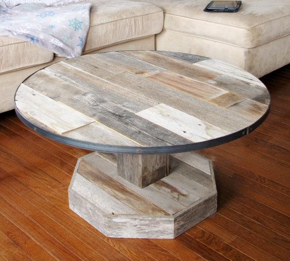 Round Rustic Farmhouse Coffee Table Reclaimed Barn Wood Etsy