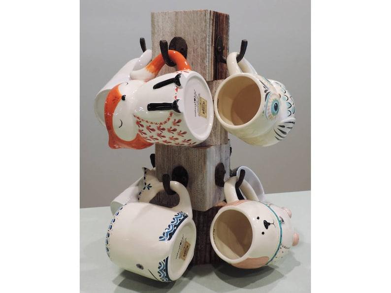 Farmhouse Coffee Mug Tree Wooden Cup Holder Kitchen