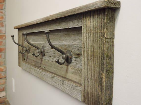 Rustic Barn Wood Entryway Coat Hooks, Coat Racks Wall Mounted Decorative