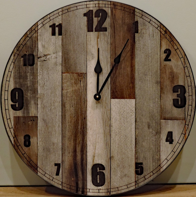 d120d92353b 24 inch Large Rustic Wooden Country Wall Clock Big Barn Wood