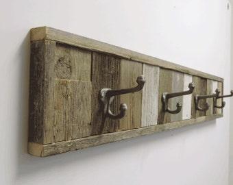 "37.5"" Rustic Beach Cottage Barnwood Wall Mounted Towel Hook Rack. Decorative 4 hooks Wooden Multi Bath Towel hanger, Bathroom Decor sets."