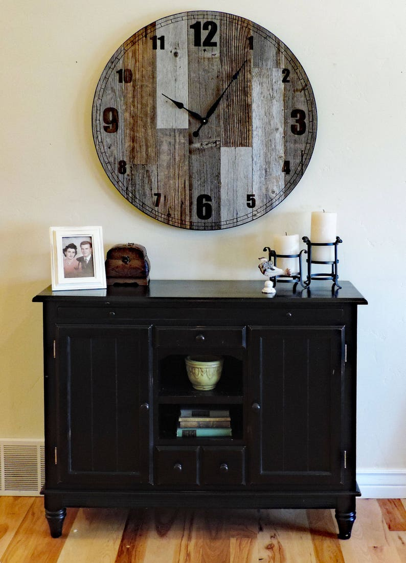 36 Inch Wooden Extra Large Country Oversize Farmhouse Kitchen Living Room Giant Decorative Brown And Grey Rustic Barn Wood Wall Clock