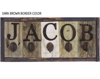 Personalized Name Kids Coat Rack Childrens Coat Rack Cast Iron Hooks Reclaimed Wood