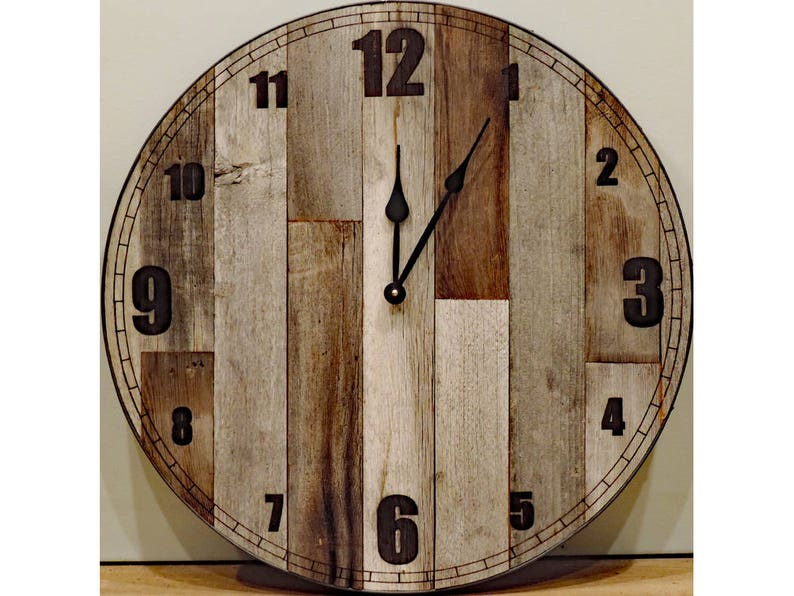24 Inch Large Rustic Wooden Country Wall Clock Big Barn Wood Etsy
