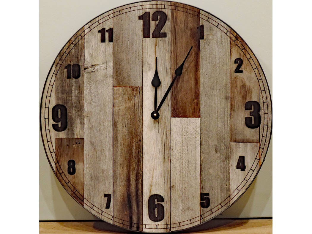 24 Inch Large Rustic Wooden Country Wall Clock Big Barn