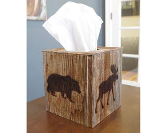 Rustic Reclaimed Barn Wood Tissue Box Cover with laser engraved wildlife sides. Bring the outdoors indoors with this tissue box holder!
