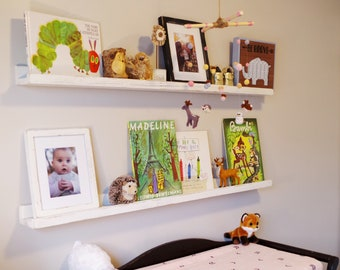 Rustic White Nursery Shelves. Reclaimed Wood Baby Room Floating Book Shelf. Nursery Wall shelves in your choice of color.