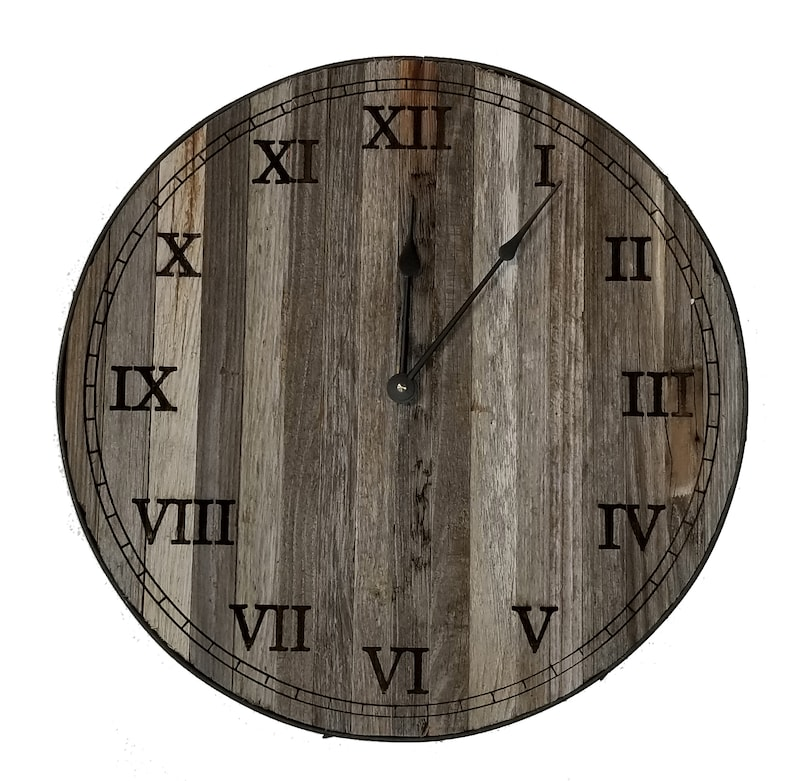 557f4ced0b6 Rustic Reclaimed Barn Wood Clock with Roman Numerals and steel