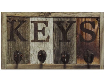 Rustic Wall Mounted Key Hook Rack, Wooden Key chain Holder, Decorative Car Keychain Ring Hanger, Unique Home Storage Organizer for Wall.