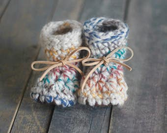 Baby Booties, Pregnancy Announcement, Baby Keepsake, Baby Shoes, Leather Booties, Gender Neutral, Shower Gift Baby Gift, Crochet Booties