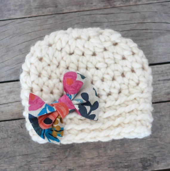 82e7bdd044b Baby Hat Baby Girl Hat Baby Hat with Bow Rifle Paper Co