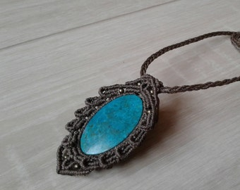 Locket set macrame Chrysocolla