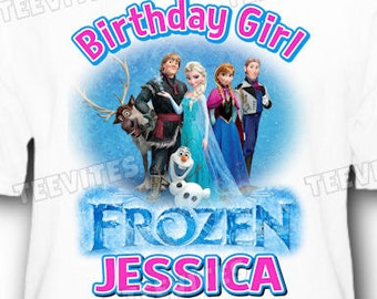 Personalized Disney Frozen Anna and Elsa Olaf Hans Flynn Birthday T-Shirt