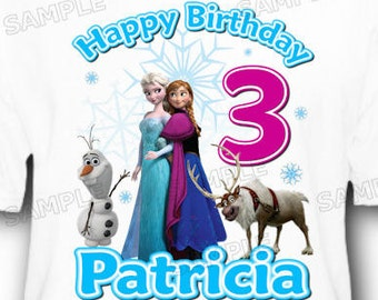 Personalized Disney Frozen Anna and Elsa Birthday T-Shirt