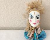 Vintage Porcelain Clown Head Ornament Collectible Hand Painted Vintage Collectible Ornaments