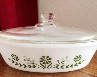Oblong Glasbake Casserole Milk Glass Green Floral #J235 W/ Lid