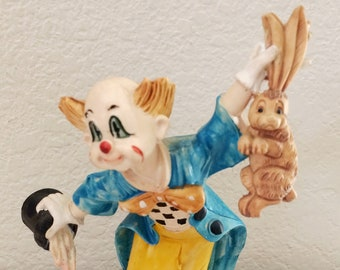 Vintage Clown Magician Cake Topper Figure - Holding Rabbit and Hat D4282