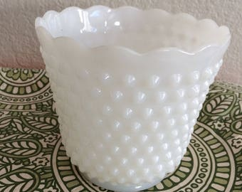 "Vintage Hobnail Planter Vase Pot, Milk Glass Collectible  5 1/4"" Tall  Beautiful"