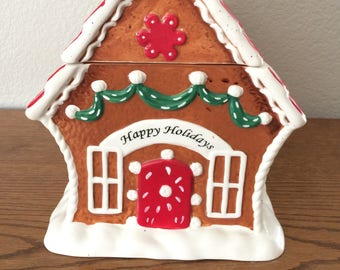 Vintage Gingerbread House ceramic cookie jar put out by Cheryl and Co. Est. 1981