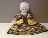 Caenaho B Poccnn (Made in Russia) Vintage White Porcelain Vintage Doll-RARE Rabbit Fur Hat-Tag