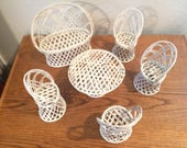 VTG Set of (6) Wicker Rattan Doll Furniture Couch, Table (4) High Back Chairs