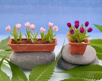 Miniature flowers 1:12 scale - Tulips in Terra Cotta pots