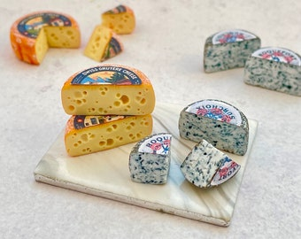 Miniature Gruyere and Roquefort Wheels in 1:12 scale