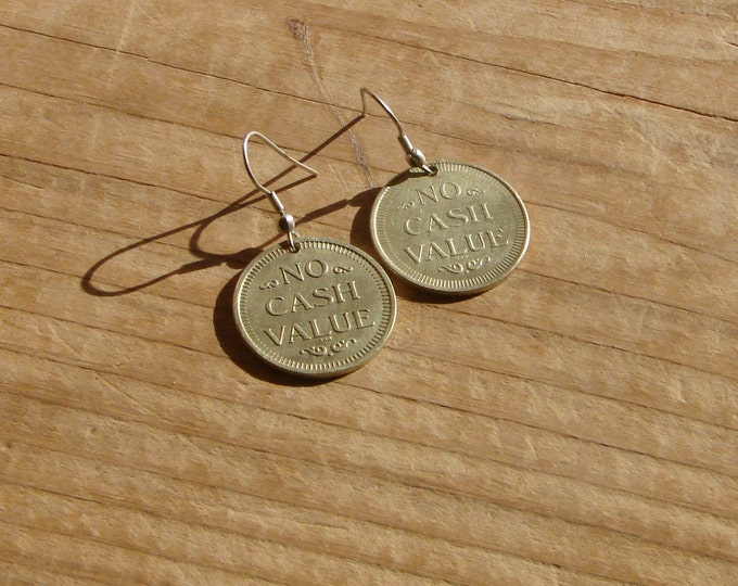 "Found Object, ""No Cash Value"", Earings. Hard-Core Gamer Earrings."