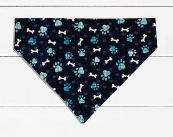 Blue Bones Dog Bandana, Over-the-collar Pet Scarf, Blue Bones Pet Bandana, Blue Dog Bandana