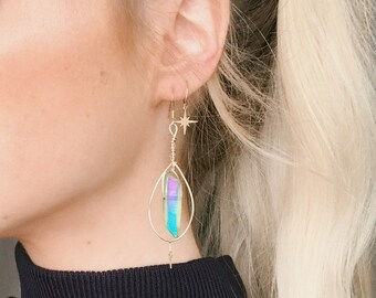 Green Crystal Quartz Dangle Drop Earrings crystal jewelry green aura quartz silver jewelry
