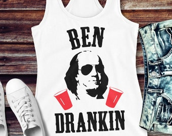 1ef20c9807ba2 BEN DRANKIN 4th of JULY Tank Top - White with Black   Red Print