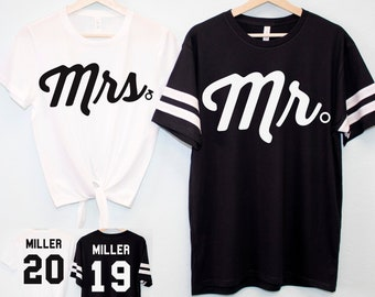 50c927e32c MRS Crop Top + MR Tee SET Custom Names & Numbers, Couples Shirts, Honeymoon  Shirts, Bride and Groom shirts, matching mr and mrs shirts set