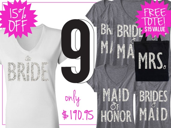 mrs honor honor of Bundle bridal 9 BRIDE of Shirt Bridesmaid wedding 15 bridesmaid Bride SHIRTS shirt maid shirt WEDDING maid Off 1wBpZq