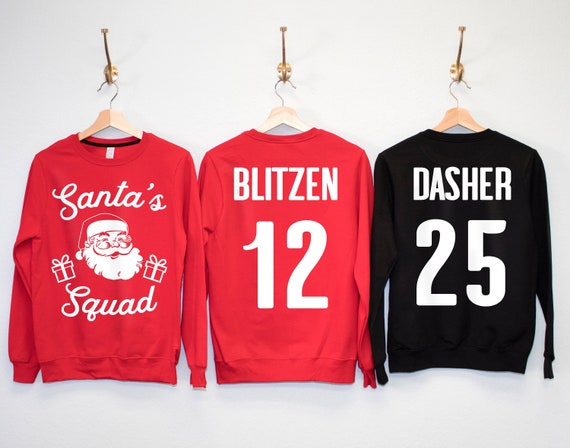 Custom Christmas Sweaters.Santa S Squad Custom Christmas Sweatshirts Your Name Number Christmas Party Shirts Ugly Christmas Sweaters Xmas Santa Claus Shirts