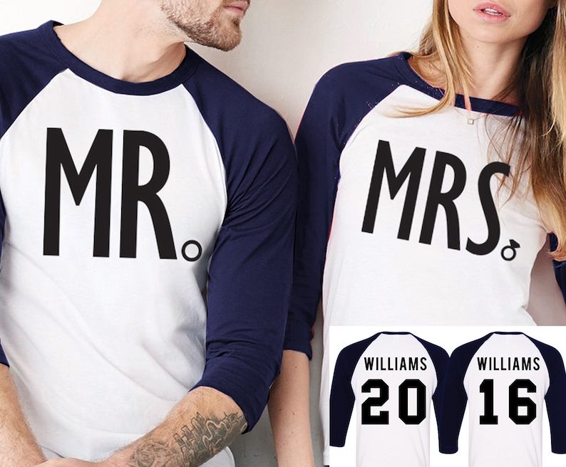 d4cc156d MRS Bride Shirt MR Groom Baseball Tees CUSTOM Names &   Etsy
