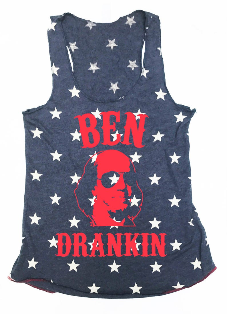 50f1c46976f84a BEN DRANKIN 4th of July Drinking Tank Top Blue Stars with