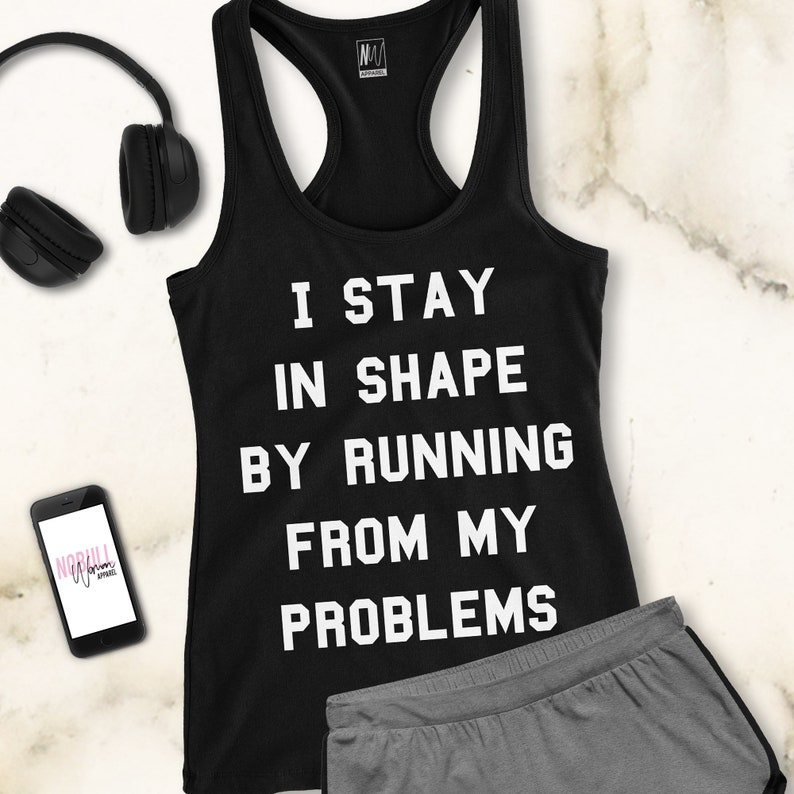 f34471b9973a38 RUNNING FROM PROBLEMS Workout Tank Top Black Workout Shirts