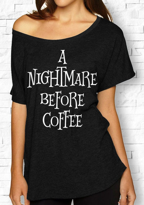 a379195b8f61 A NIGHTMARE BEFORE COFFEE Halloween Off-Shoulder Shirt Black