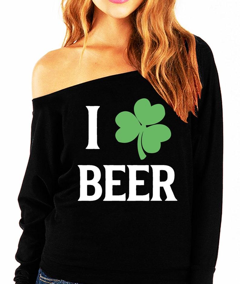 f992d4f38a8777 I LOVE BEER Shamrock St. Patrick s Day Off-Shoulder