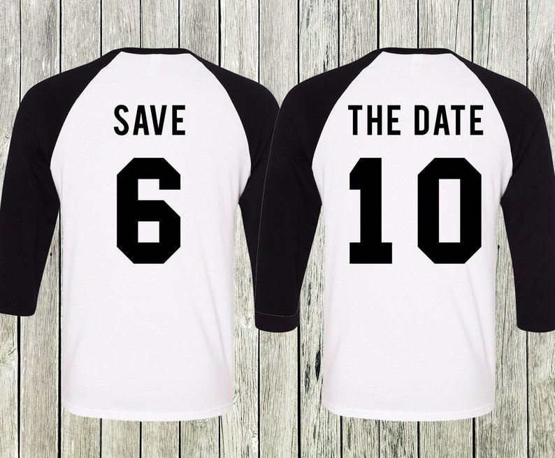2491c0974d SAVE THE DATE Baseball Tees Set Engagement Shirts Save the | Etsy