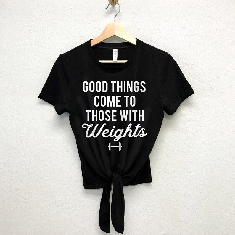 weight lifting women THOSE WITH WEIGHTS Workout Crop Top Front Tie gym Shirts Workout Clothing fitness Workout Shirts Gym crop tops