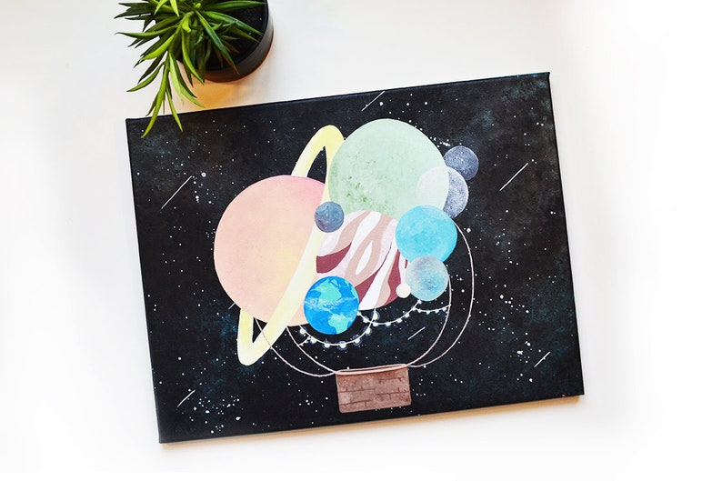 Solar System Hot Air Balloon Colorful Canvas Painting, Solar System Planet  Art, Cute Space Painting, String Lights, Acrylic Stretched Canvas