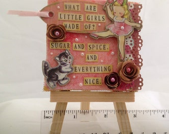 OOAK Original Mini Painting - Mixed Media Canvas - Sugar and Spice
