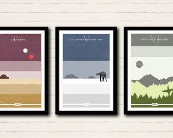 Star Wars Series Poster Set Art Print Collection 11 X 17 Minimalist Home Decor
