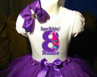 Trolls Poppy *With NAME* 4th fourth 4 Birthday Purple Tutu dress Fast Shipping