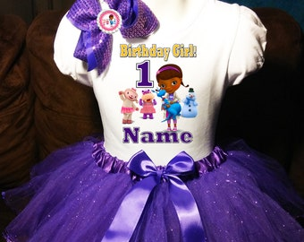 Doc McStuffins Dress NAME 1st First 1 Birthday Shirt Personalized 2 Pc Tutu Outfit Party T Fast Shipping