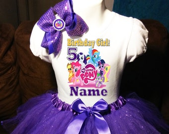 618219f15 My Little Pony Dress ++NAME++ 5th Fifth 5 birthday Shirt Personalized 2 Pc  Tutu outfit PURPLE Fast shipping